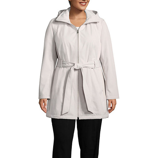 Liz Claiborne Hooded Belted Water Resistant Midweight Softshell Jacket-Plus