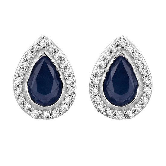 1/7 CT. T.W. Genuine Blue Sapphire 10K White Gold 8.5mm Stud Earrings