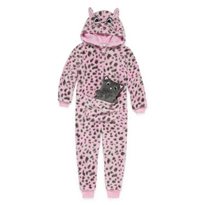 Jammers Kids Girls Polar Fleece One Piece Pajama Long Sleeve Hooded Neck