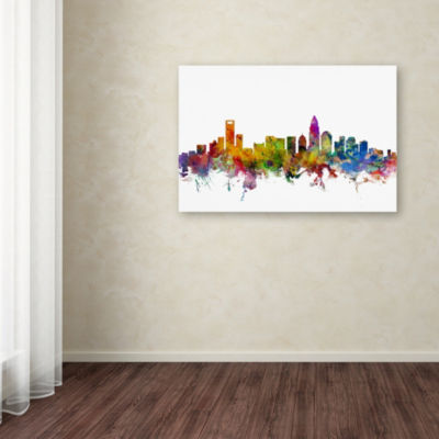 Trademark Fine Art Michael Tompsett Charlotte North Carolina Skyline Giclee Canvas Art
