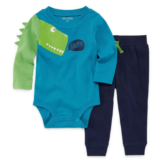 Okie Dokie Dinosaur Long Sleeve Bodysuit and Pant Set - Baby Boy NB-24M