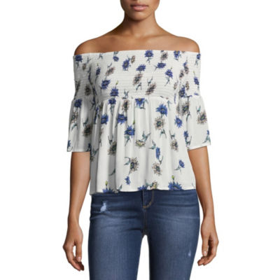 Arizona Smocked Off the Shoulder Woven Blouse-Juniors