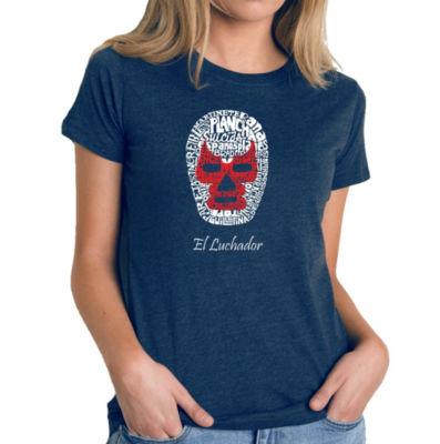 Los Angeles Pop Art Women's Premium Blend Word ArtT-shirt - MEXICAN WRESTLING MASK