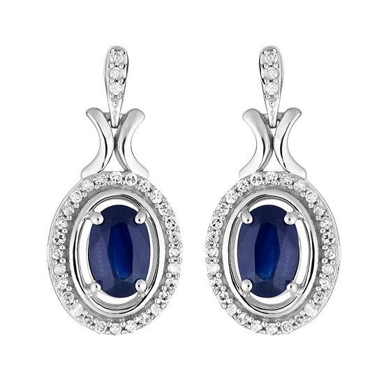 1/6 CT. T.W. Genuine Blue Sapphire 10K White Gold Drop Earrings