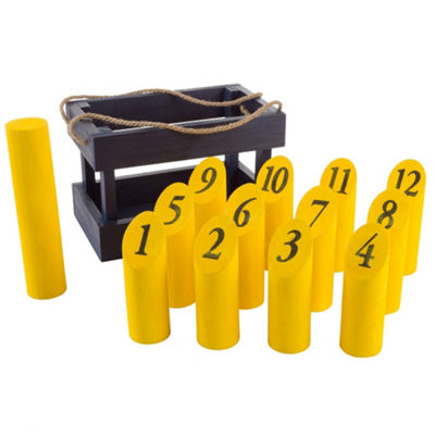 Wooden Throwing Game-Complete Set (Blue/Yellow)