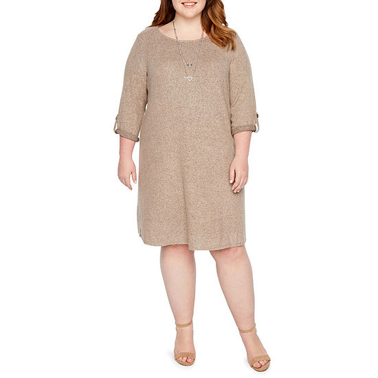 Alyx Brushed Knit Shift Dress with Necklace - Plus