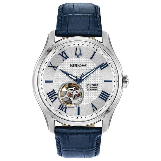 Bulova Wilton Mens Blue Leather Strap Watch-96a206
