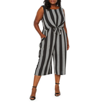 Worthington Stripe Tie Front Crop Jumpsuit - Plus