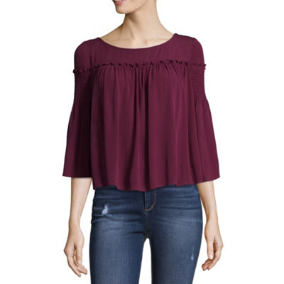 Arizona 3/4 Sleeve Round Neck Woven Blouse-Juniors