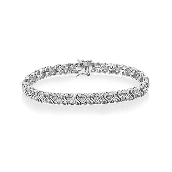 Diamonart White Cubic Zirconia Sterling Silver Heart 7 Inch Tennis Bracelet