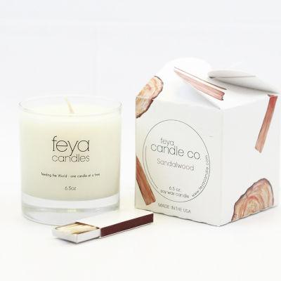 Feya Candle 6.5oz Sandalwood Soy Candle