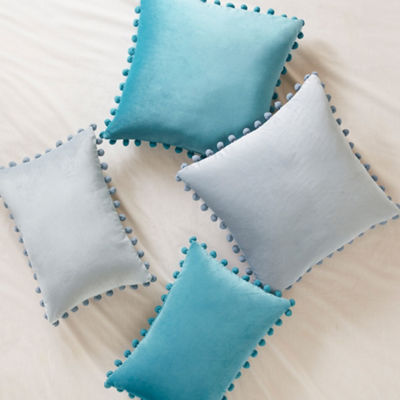 Intelligent Design Ania Poly Velvet Pom Pom Pillow