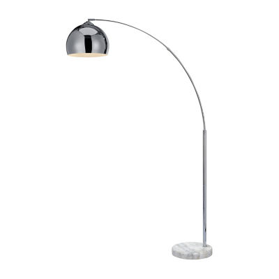 Versanora - Arquer Arc Floor Lamp with Chrome Finished Shade and White Marble Base