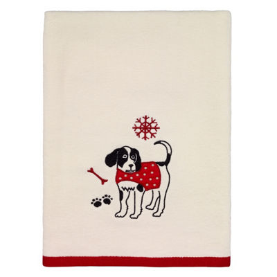 Avanti Happy Pawlidays Embroidered Bath Towel