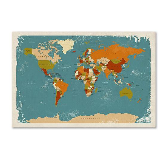 Trademark Fine Art Michael Tompsett Retro Political Map of the World 3 Giclee Canvas Art