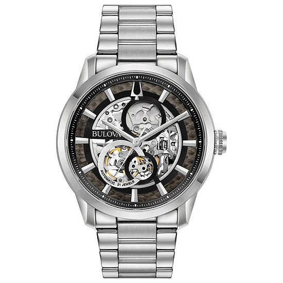 Bulova Sutton Mens Silver Tone Stainless Steel Bracelet Watch-96a208