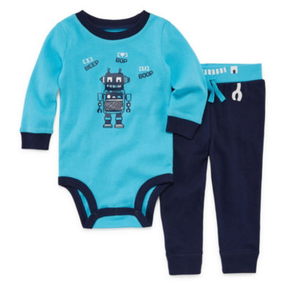 Okie Dokie Robot Long Sleeve Bodysuit and Pant Set - Baby Boy NB-24M