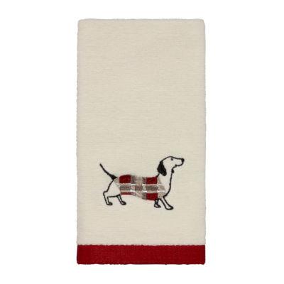 Avanti Happy Pawlidays Embroidered Fingertip Towel