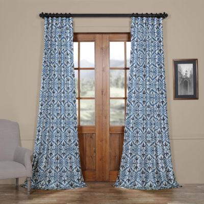 Exclusive Fabrics & Furnishing Iron Gate Faux Silk Taffeta Blackout Rod-Pocket/Back-Tab Curtain Panel