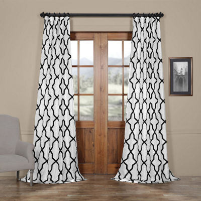 Exclusive Fabrics & Furnishing Pinnacle Flocked Faux Silk Rod-Pocket Curtain Panel