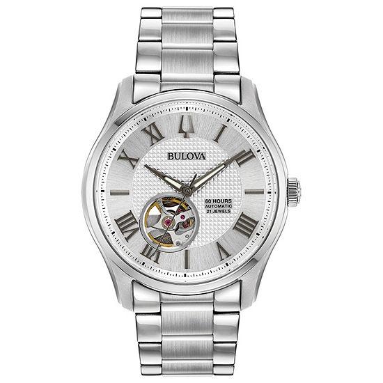 Bulova Wilton Mens Silver Tone Stainless Steel Bracelet Watch-96a207