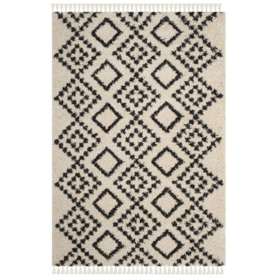 Safavieh Moroccan Fringe Shag Collection Alyx Geometric Round Area Rug