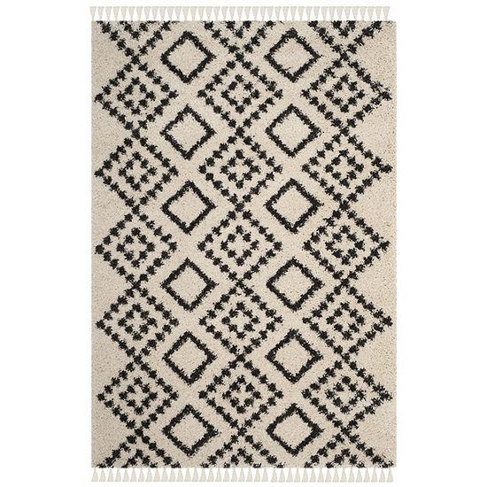 Safavieh Moroccan Fringe Shag Collection Alyx Geometric Round Area Rug