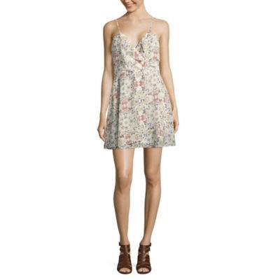 Speechless Sleeveless Floral Wrap Dress-Juniors
