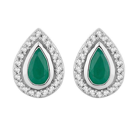 1/8 CT. T.W. Genuine Green Emerald 10K White Gold 9.4mm Stud Earrings
