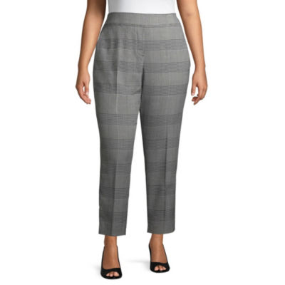 Worthington Plaid Side Stripe Ankle Pant - Plus