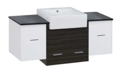 50.75-in. W 18-in. D Modern Wall Mount Plywood-Melamine Vanity Base Set Only In White-Dawn Grey