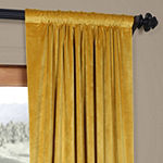 Exclusive Fabrics & Furnishing Heritage Plush Velvet Rod-Pocket/Back-Tab Curtain Panel