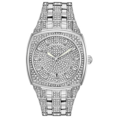 Bulova Mens Silver Tone Bracelet Watch-96b296