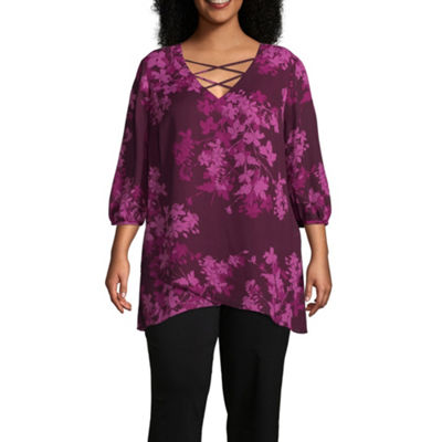 Worthington Cross Front Printed Woven Tunic - Plus