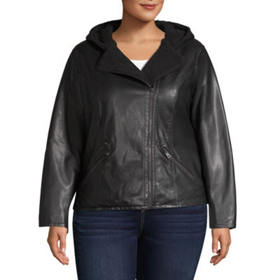 Levi's Faux Leather Hooded Midweight Motorcycle Jacket-Plus