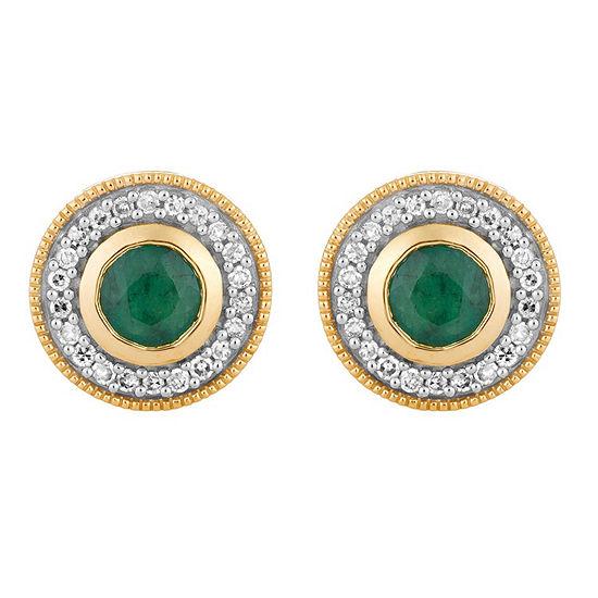 1/5 CT. T.W. Genuine Green Emerald 10K Gold 9.2mm Stud Earrings