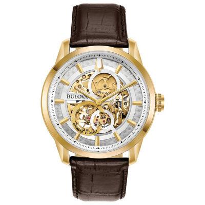Bulova Mens Brown Strap Watch-97a138