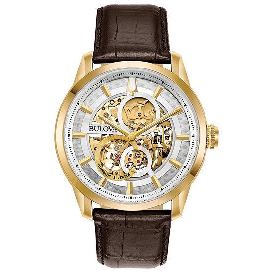 Bulova Sutton Mens Brown Leather Strap Watch-97a138