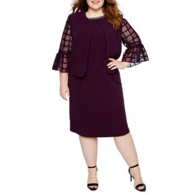 Maya Brooke 3/4 Sleeve Embellished Jacket Dress - Plus