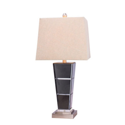 Fangio Lighting's #5127 27.75 inch Metal & Glass Table Lamp in Brushed Steel