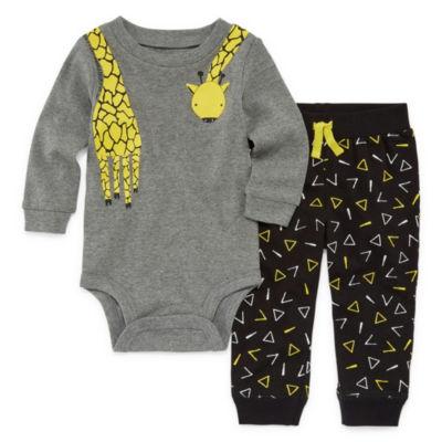 Okie Dokie Giraffe Long Sleeve Bodysuit and Pant Set - Baby Boy NB-24M