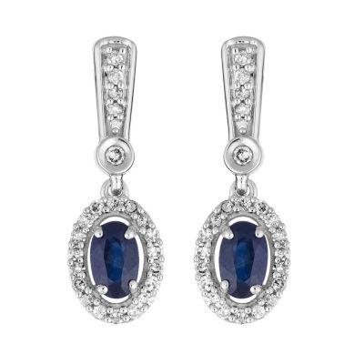 1/5 CT. T.W. Genuine Blue Sapphire 10K White Gold Drop Earrings
