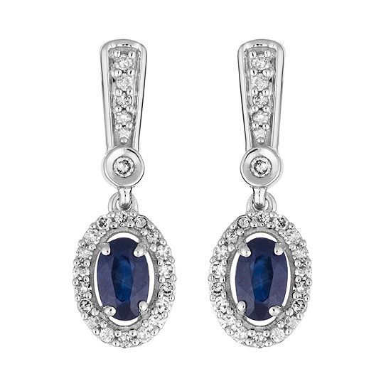 1/5 CT. T.W. Genuine Blue Sapphire 10K White Gold Drop Earrings