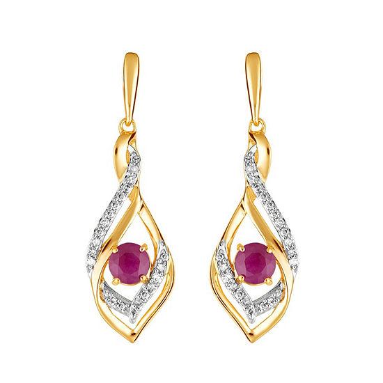 1/8 CT. T.W. Lead Glass-Filled Red Ruby 10K Gold Drop Earrings