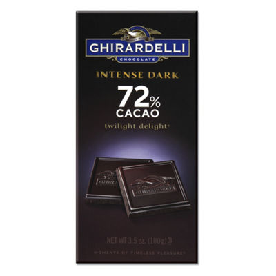 Ghirardelli Chocolate Intense Dark Twilight Delight 72% Cacao Chocolate 3.5 oz. 12 Count