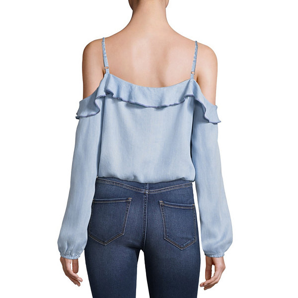 Arizona Cold Shoulder Ruffle Woven Blouse-Juniors