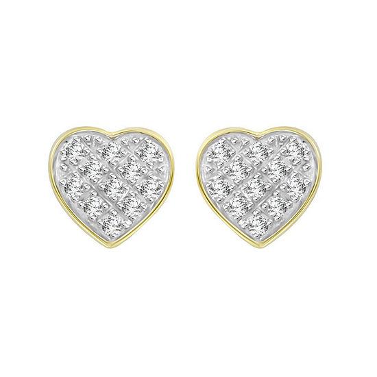 Diamond Accent Genuine White Diamond 10K Gold 5.4mm Heart Stud Earrings