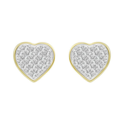 1/6 CT. T.W. Genuine White Diamond 10K Gold 8.4mm Heart Stud Earrings