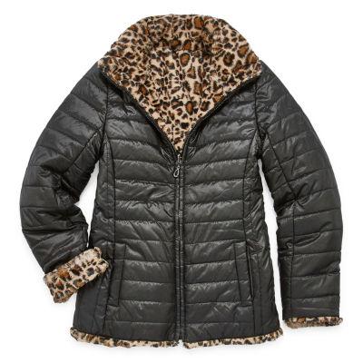 Gallery - Girls Reversible Midweight Puffer Jacket-Big Kid