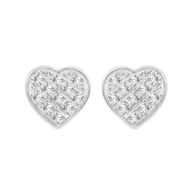 Diamond Accent Genuine White Diamond 10K White Gold 5.4mm Heart Stud Earrings